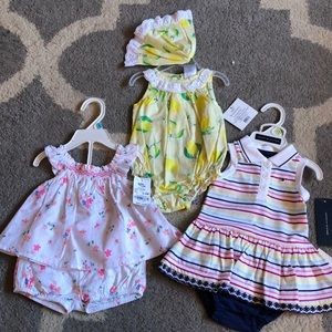 3-6 mo baby girl matching sets x3 outfits
